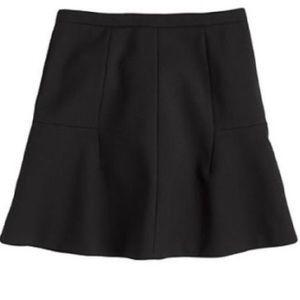 J. Crew Double Crepe Fluted Black Skirt